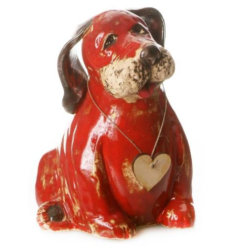 Ceramic Puppy Dog Labrador with Messaging Wooden Heart | Red