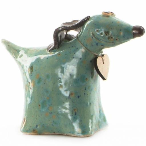 Ceramic Greyhound Dog with Wooden Messaging Heart Tag | Mint