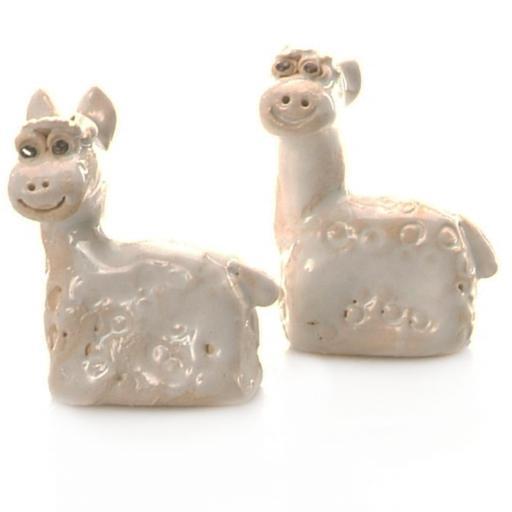 Ceramic Mini Cute Alpaca Lama Figurine   Gift Boxed