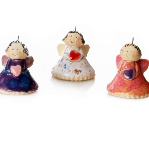 Hanging Ceramic Angels with Heart | Assorted Colours | Supplied at Random