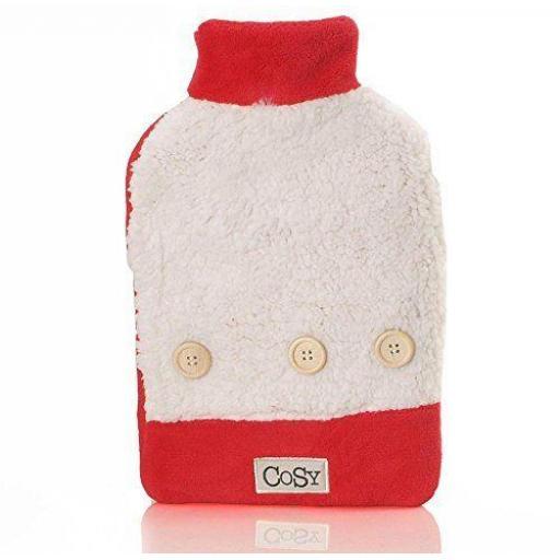 Hot Water Bottle 750 ml Cosy Sherpa in Red