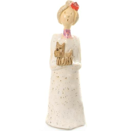 Quirky Ceramic Lady Figurine in White with Brown Terrier / Shih Tzu