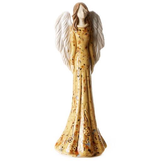 Large Ceramic Angel Figurine in Mustard