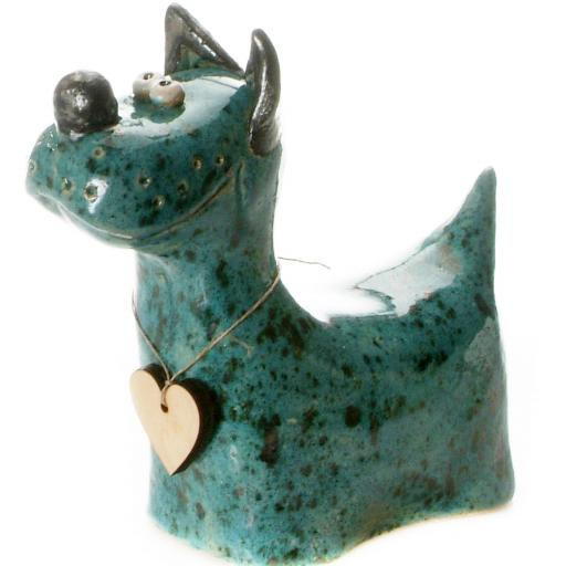 Ceramic Terrier with Messaging Wooden Heart | 8 Colours