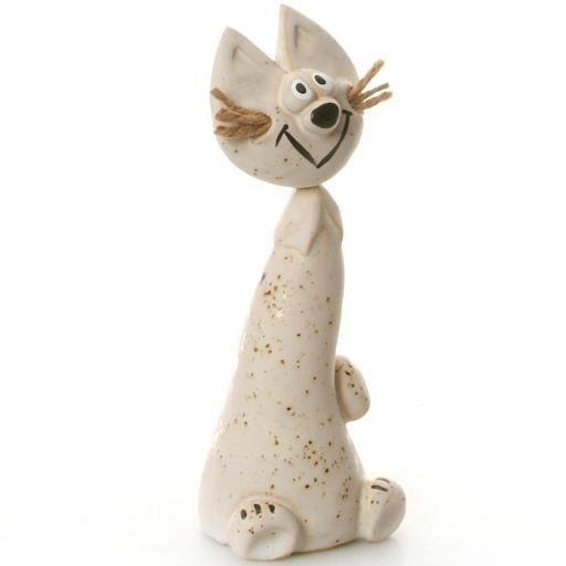 Ceramic Crazy Cat with Jute Whiskers | White
