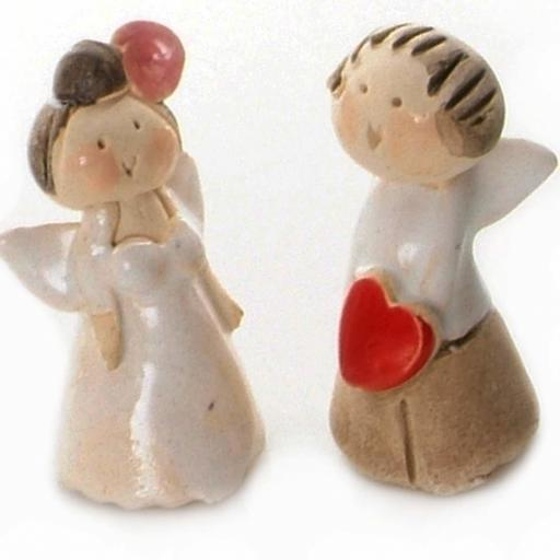 Mini Ceramic Loving Couple Angels Newlyweds Figurines | Gift Boxed