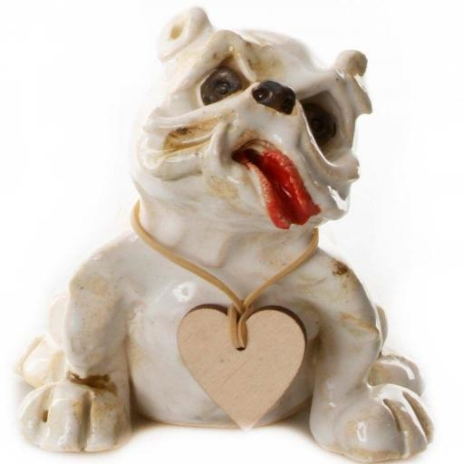 Ceramic English Bulldog with Messaging Wooden Heart
