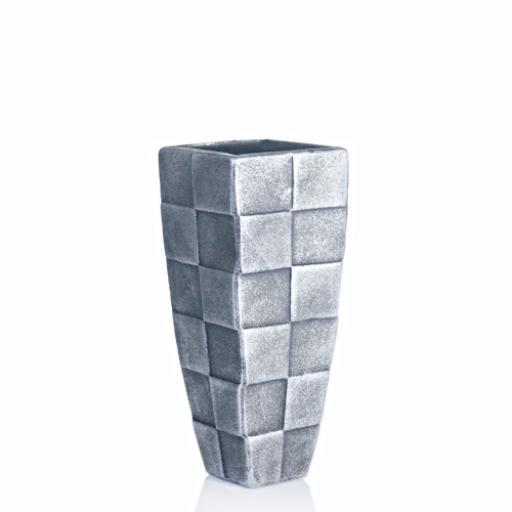 Silver Modern Square Ceramic Vase Small