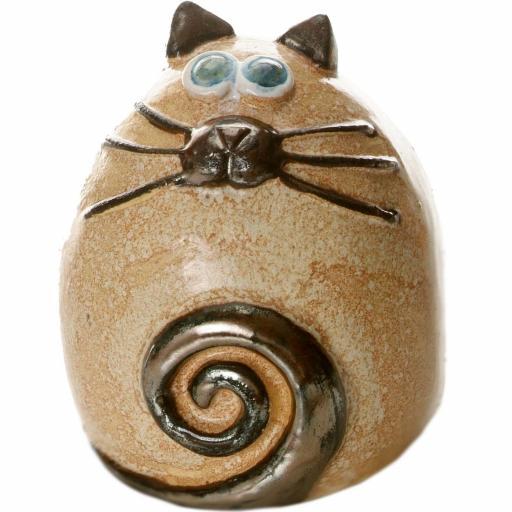Ceramic Fat Cat Ornament | Taupe