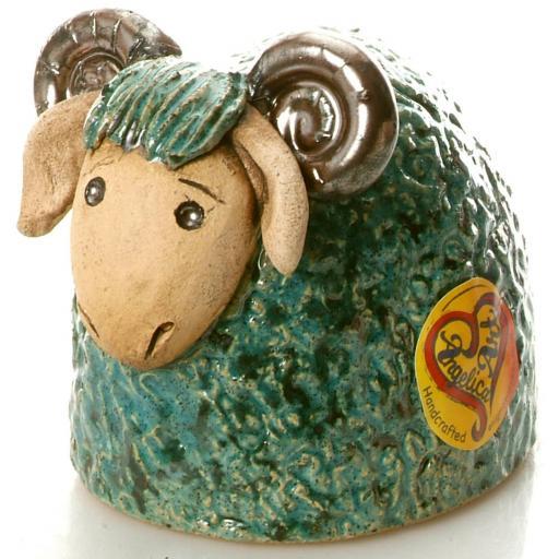 Ceramic Ram Figurine | Teal