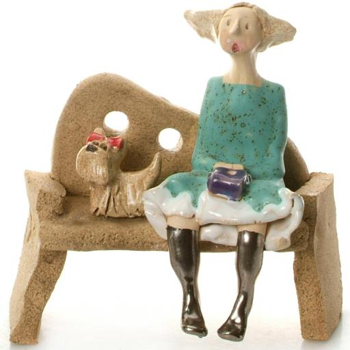 Ceramic Lady Figurine with 1 Dog Sitting on Bench in Turquoise Dress | Brown Shih Tzu