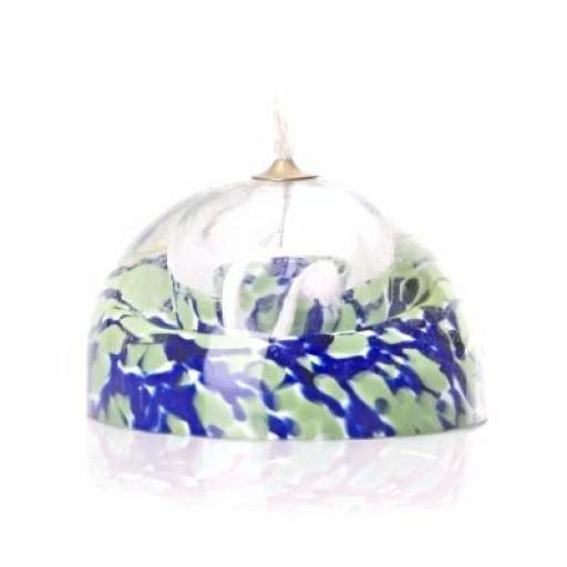 Heavy Glass Paper Weight Oil Lamp with Brass Surround Wick | Green-Blue