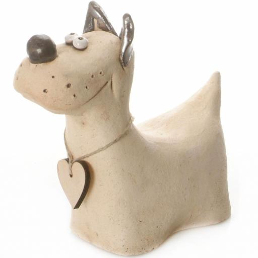 Ceramic Terrier Ornament with Messaging Wooden Heart | Natural