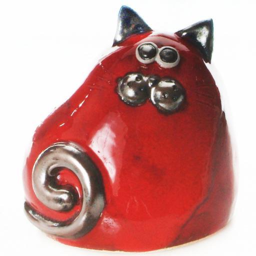 Ceramic Chubby Cat Ornament | Red