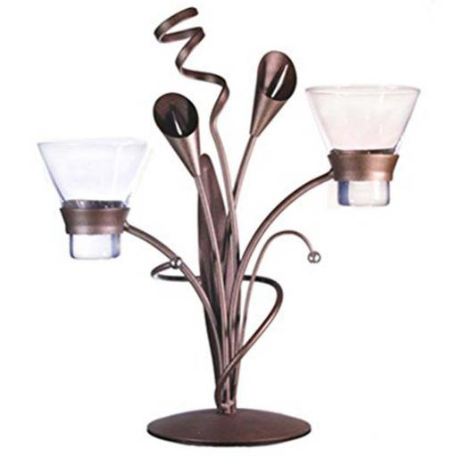 Metal Candl Holder with 2 Glass Cups | Lily | Matt Brown