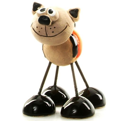 Wire Legs Ceramic Cat | Ginger & Black Stripes