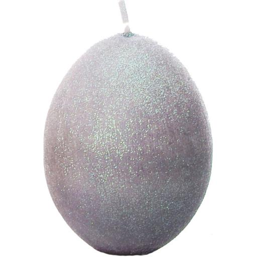 Egg Shaped Candle in Sparkly Grey Dove