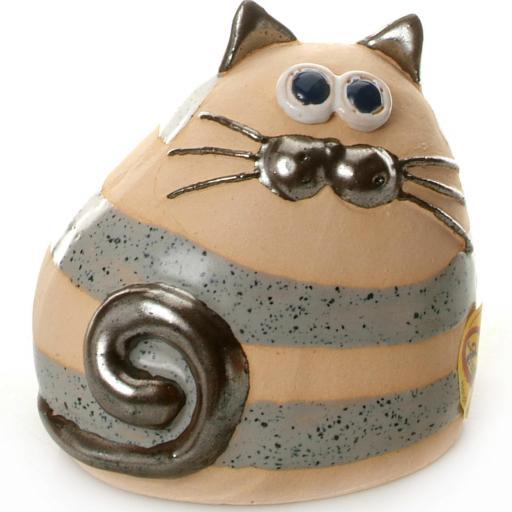 Ceramic Chubby Cat Ornament | Stripey Grey