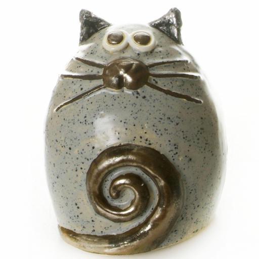 Ceramic Fat Cat Ornament | Graphite