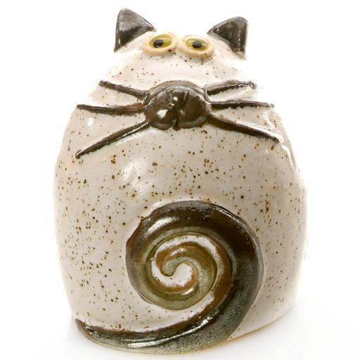 Ceramic Fat Cat Ornament | White