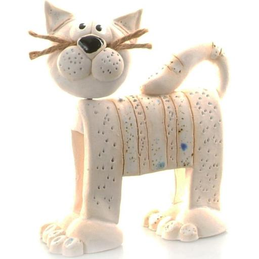 Stripey Whiskers Cat Figurine | White