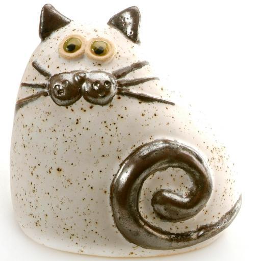 Ceramic Chubby Cat Ornament | White