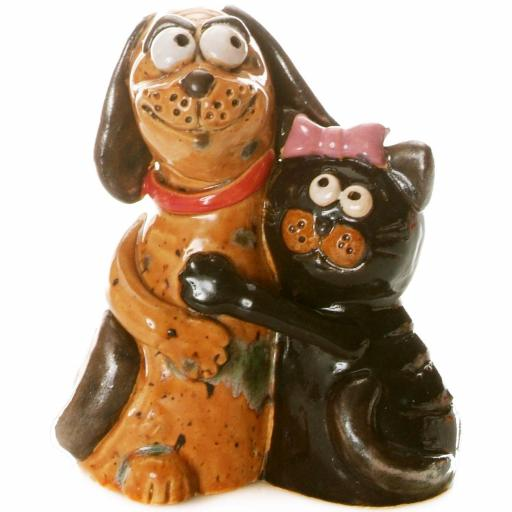 Ceramic Figurine Cat & Dog Together | Unusual Pair