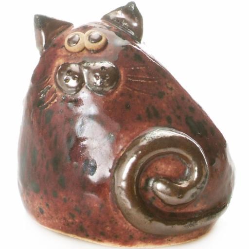 Ceramic Chubby Cat Figurine | Burgundy