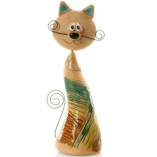 Ceramic Crazy Cat with Wire Whiskers & Tail | Multicoloured