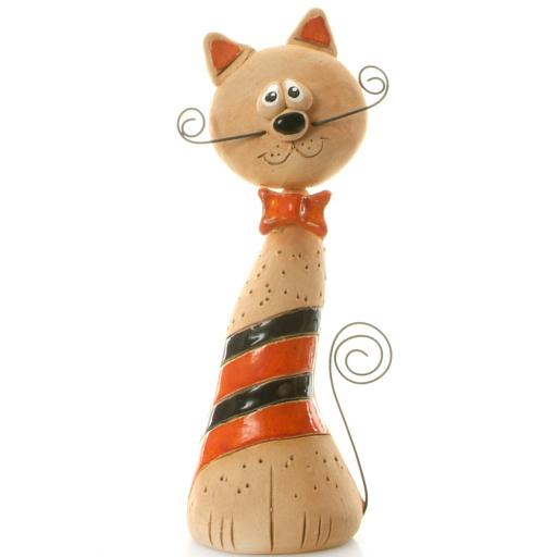 Ceramic Crazy Cat with Wire Whiskers & Tail   Ginger & Black Stripes