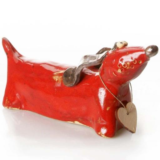 Ceramic Dachshund with Messaging Wooden Heart | Red
