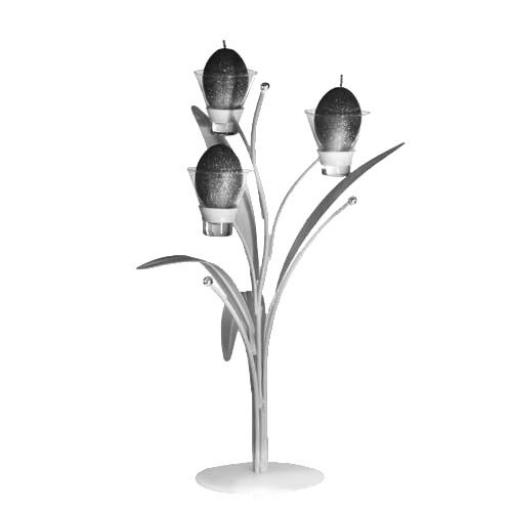 Statement Piece Metal Candle Holder with 3 Glass Candle Cups | Ivy Leaf | White
