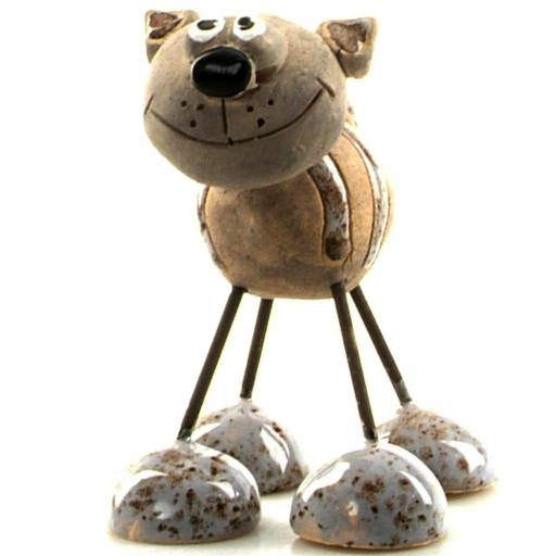 Wire Legs Ceramic Cat | Grey Stripes