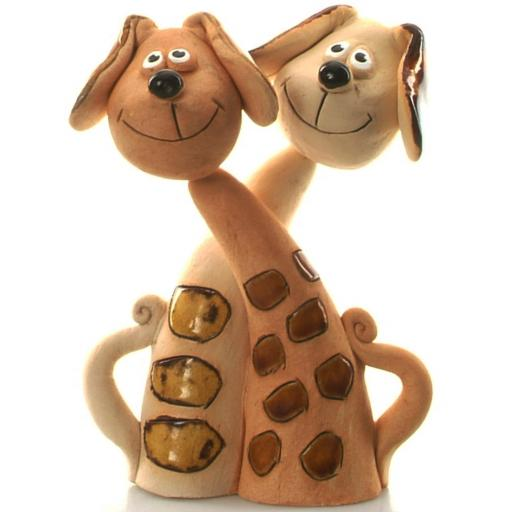 Ceramic Dog Pair | Brown and Ginger Dog