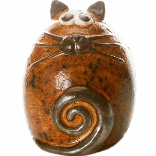Ceramic Fat Cat Ornament | Walnut