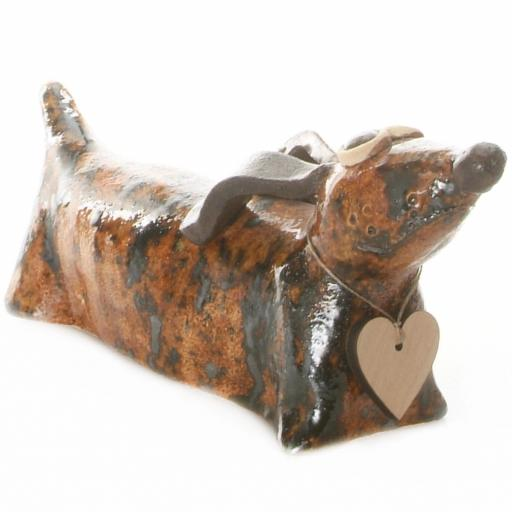 Dachshund with Messaging Wooden Heart | 10 Colours