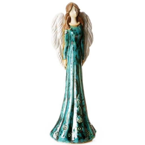 Large Ceramic Angel Figurine in Teal