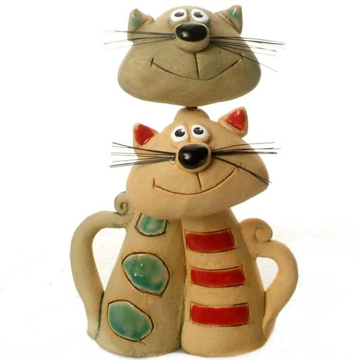 Ceramic Cat Pair for Cat Lovers | Modern Look