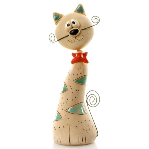 Ceramic Crazy Cat with Wire Whiskers & Tail | Turquoise Patches