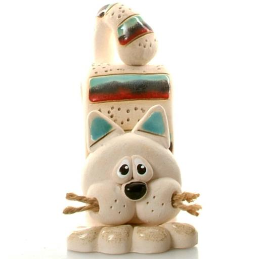 Bent Ceramic Cat with Jute Whiskers | Teal & Red Stripes
