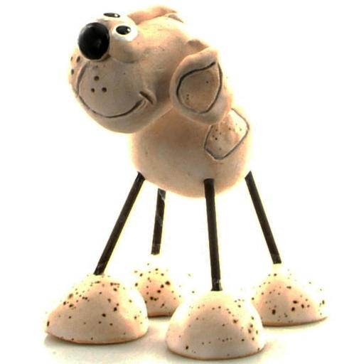 Wire Legs Ceramic Dog | White Patches