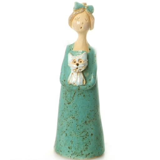 Ceramic Quirky Lady Holding White Westie or Shih Tzu | Turquoise