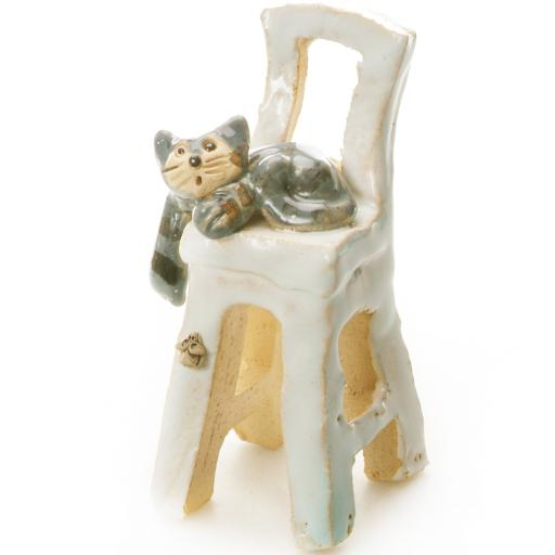 Small Tabby Grey Cat on a White Chair Ceramic Quirky Feline Ornament