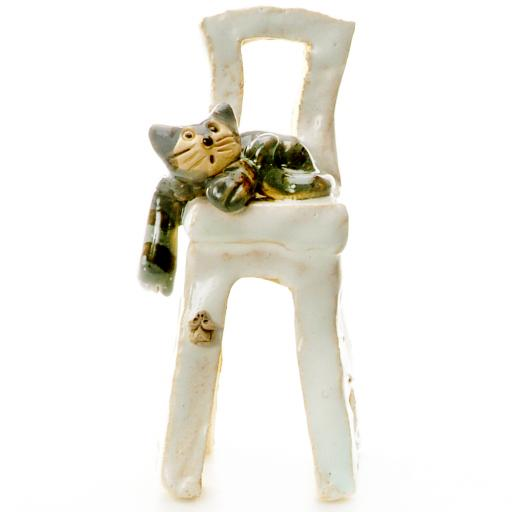 Cat Sitting on Chair Ceramic Quirky Feline Ornament | 3 Colours