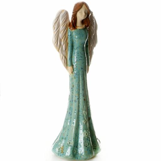 Large Ceramic Angel Figurine in Turquoise