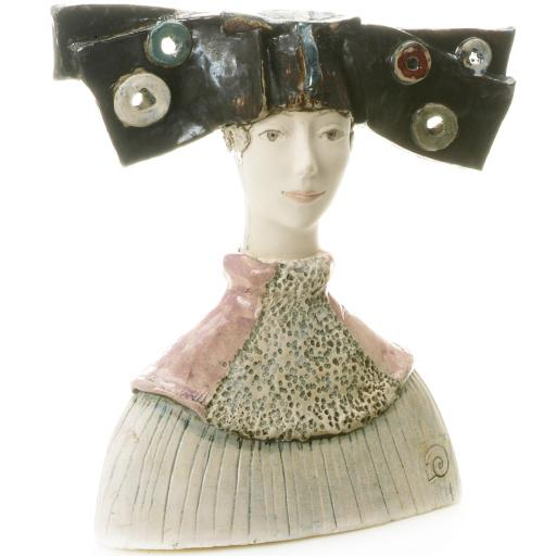 Ceramic Statue Woman Bust in Abstract Bow Hat | Room Decor Sculpture