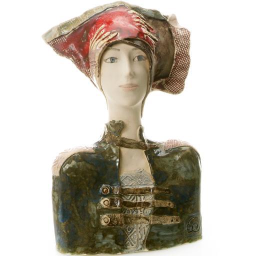Ceramic Women Bust in Red Hat | Room Decor Sculpture
