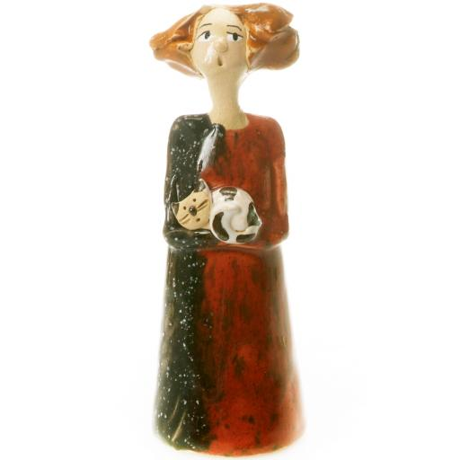 Quirky Ceramic Figurine with a Tabby Cat | Hand Crafted by Anka Christof