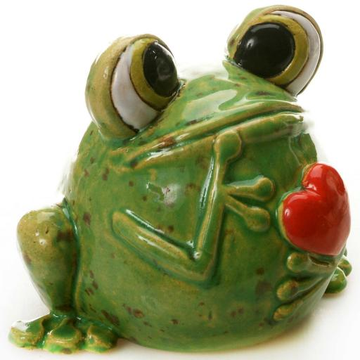 Quirky Frog Green | Red Heart