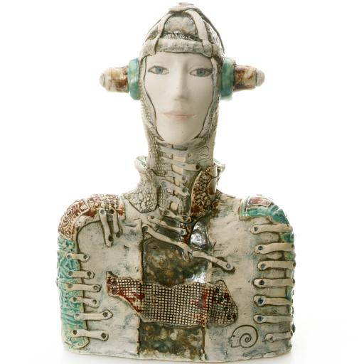 Ceramic Statue Futuristic Women Bust | Room Decor Sculpture